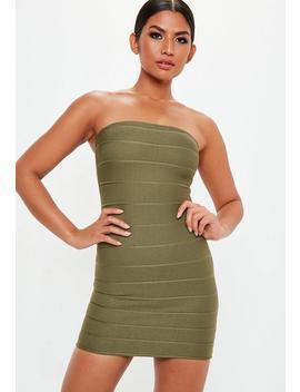 Khaki Bandage Bandeau Mini Dress by Missguided