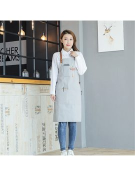 New 2018 Bbq Canvas Apron With Pocket Dress Bib Leather Straps Kitchen Apron For Women Men Cooking Waitress Cotton Custom Logo by Ttgy Easy
