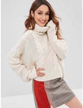 Cable Knit Chunky Turtleneck Sweater   Crystal Cream by Zaful