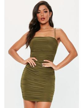 Khaki Strappy Slinky Ruched Bodycon Mini Dress by Missguided