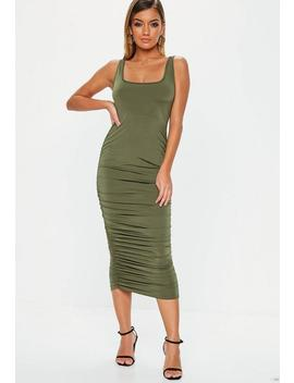 Khaki Slinky Ruched Side Midi Dress by Missguided