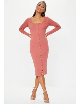 Tall Rust Ribbed Popper Midi Dress by Missguided