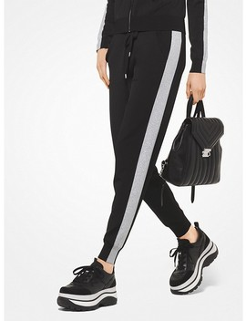 Contrast Stripe Viscose Joggers by Michael Michael Kors