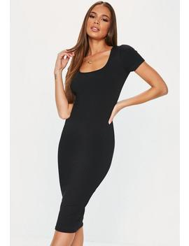 Black Rib Square Neck Midi Dress by Missguided