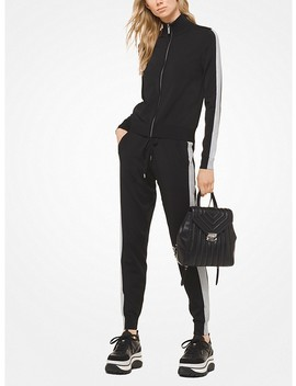 Metallic Stripe Stretch Viscose Track Jacket by Michael Michael Kors