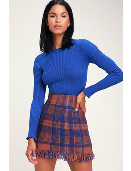 Meagan Rust And Blue Plaid Fringe Skirt by Moon River