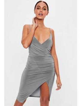 Grey Slate Strappy Slinky Wrap Bodycon Midi Dress by Missguided