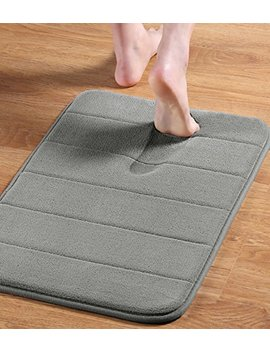 """24"""" X 17"""" Microfiber Memory Foam Bath Mat With Anti Skid Bottom Non Slip Quickly Drying Dove Gray Striped Pattern by Flamingo P"""