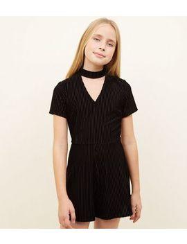 Girls Black Ribbed Velvet Choker Playsuit by New Look