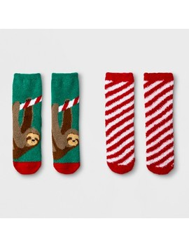 Girls' 2pk Sloth Soapy Cozy Socks   Cat & Jack™ Green/Red by Cat & Jack