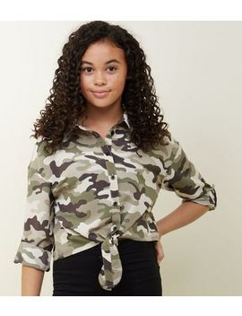 Girls Green Camo Tie Front Shirt by New Look