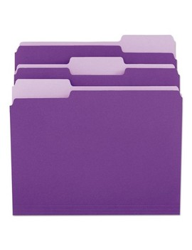 Universal® File Folders, 1/3 Cut One Ply Top Tab, Letter, Violet/Light Violet, 100/Box by Universal
