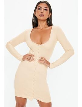 Cream Ribbed Popper Mini Dress by Missguided