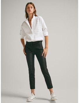 SkÓrzane Spodnie Z Przeszyciami O Kroju Slim Fit by Massimo Dutti