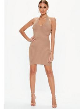 Camel Halterneck Ribbed Mini Dress by Missguided