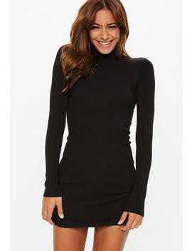 Black Roll Neck Ribbed Knitted Mini Dress by Missguided