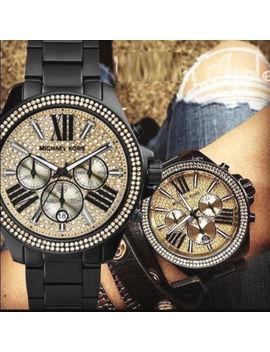 ✓ Michael Kors Wren Black Steel Band & Gold Crystal Glitz Ladies Watch Mk5961 by Michael Kors