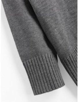 Slit Oversized Turtleneck Sweater   Deep Gray by Zaful