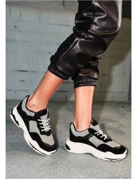 Gigi Black Check Chunky Trainers by Missy Empire