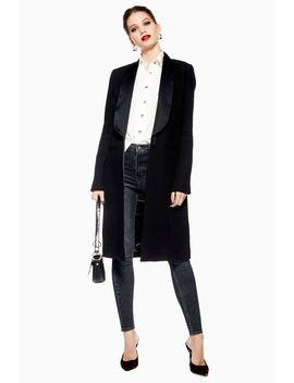 Satin Trim Tuxedo Coat by Topshop