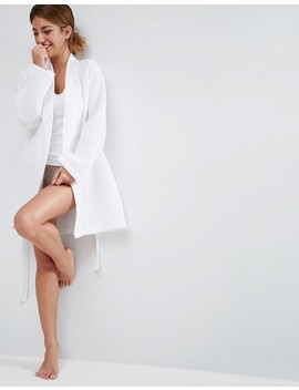 Asos Design Mini Waffle Hotel Robe In 100 Percents Cotton by Asos Design