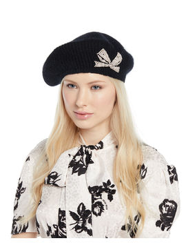 Carina Embellished Bow Mohair Blend Beret by Jennifer Behr