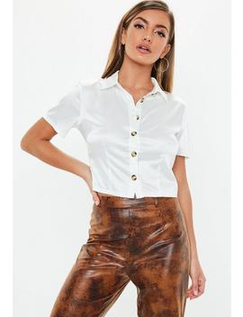 White Fitted Stretch Satin Shirt by Missguided