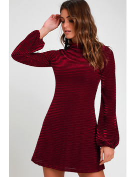 Ticket To Chic Burgundy Striped Velvet Balloon Sleeve Dress by Lulus