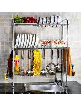 Nex Adjustable 2 Tier Stainless Steel Dish Rack With Chopstick And Utensil Holder, Moveable S Hooks, Draining Tray, And Cutting Board Rack (Nx Bowlshelf01) by Nex