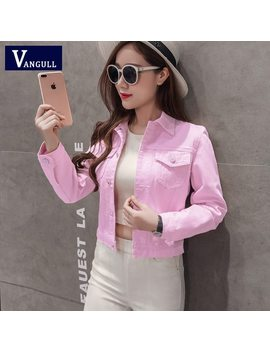 Denim Jacket Women Short Jeans Overcoat Ladies Jackets Tops Turn Down Collar Slim White Black Jeans Top For Women High Quality by Vangull