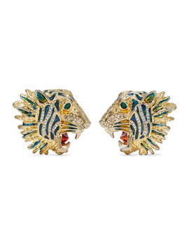 Gold Plated, Crystal And Enamel Earrings by Gucci