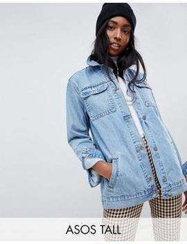 Asos Design Tall Denim Girlfriend Jacket In Stonewash Blue by Asos Design