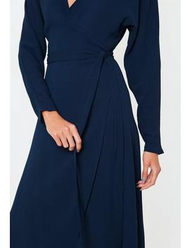 Navy Wrap Tie Waist Long Sleeve Midi Dress by Missguided