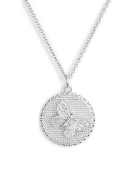 Crystal Butterfly Disc Pendant Necklace by Olivia Burton
