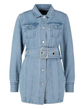 Belted Longline Denim Jacket by Boohoo