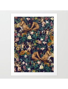 Young Greeks And Floral Pattern Art Print by