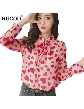 Rugod 2018 Spring Korean Style Heart Print Chiffon Blouse Women Bow Tie Long Sleeve Shirt Female Summer Holiday Blusas Feminina by Rugod
