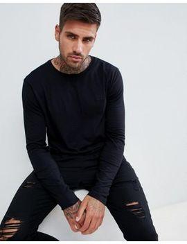 Hugo Derol Long Sleeve Embroidered Logo T Shirt In Black by Hugo