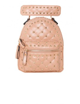Gia Pink Faux Leather Studded Backpack by Missy Empire