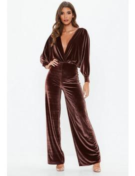 Chocolate Velvet Plunge Jumpsuit by Missguided