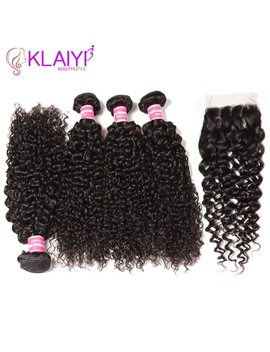 Klaiyi Hair Malaysia Curly Hair Bundles With Closure 4 Pcs Swiss Lace Closure With Bundles Remy Human Hair 3 Bundles With Closure by Klaiyi