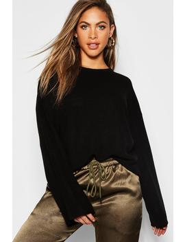 Fisherman Knit Loose Fit Jumper With Flared Sleeve by Boohoo