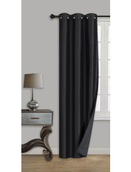 1 Pc Black Solid Panel 100 Percents Blackout Grommet Window Curtain Black Lined Backing by Sam