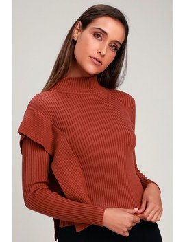 Jadzia Rusty Rose Ribbed Long Sleeve Mock Neck Sweater Top by J.O.A.