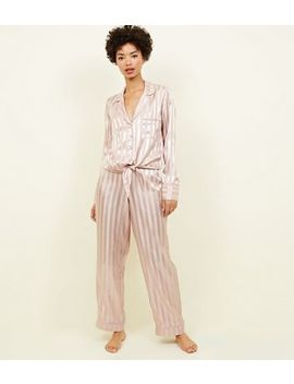 Pink Stripe Satin Tie Front Pyjama Shirt by New Look