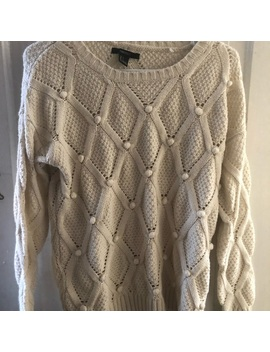 Forever 21 Cream Pom Pom Sweater Sz S by Forever 21