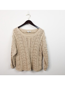 J. G. Hooke Cable Knit 3/4 Sleeve Sweater W/ Poms by J. G. Hook