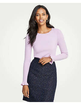Ribbed Ruffle Cuff Top by Ann Taylor