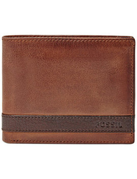 Quinn Bifold With Flip Id Leather Wallet by Fossil