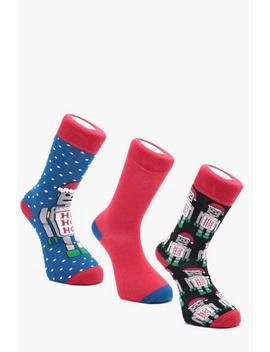 3 Pack Christmas Robot Socks by Boohoo